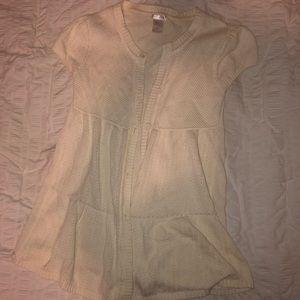 Girls Short-Sleeve Button Cream Cardigan